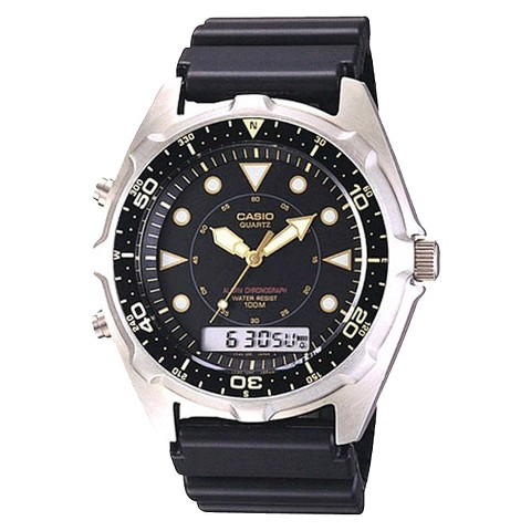 s casio analog and digital dive blac target
