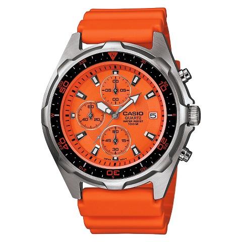 Men's Casio Stainless Steel Chronograph Watch - Orange (AMW380-4AVCR)