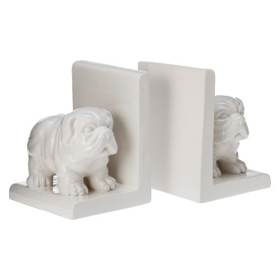 Bulldog Ceramic Bookend Set