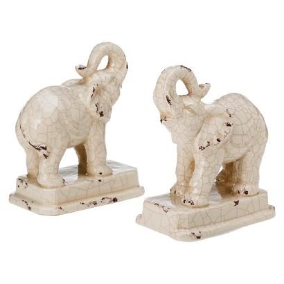 Elephant Ceramic Bookend Set Antique Crackle Target