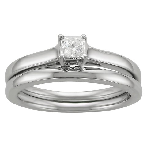 1/4 CT.T.W. Solitaire Bridal Set Ring in 14K White Gold - In Assorted Sizes