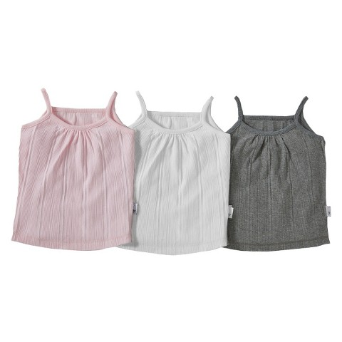 Burt's Bees Baby™ Infant Toddler Girls' 3-pack Camisole - Ivory/Pink/Grey