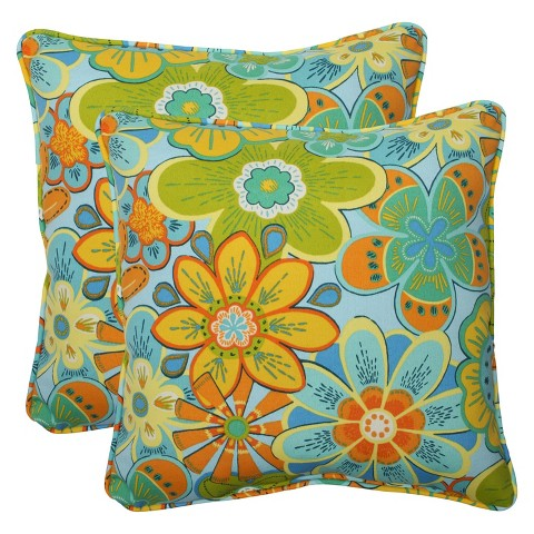 Pillow Perfect ™ 2-Piece Outdoor Square Throw Pillows - Glynis