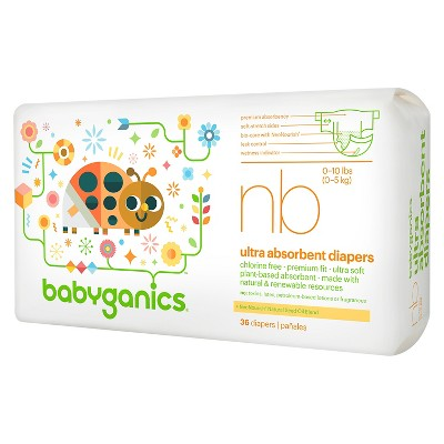 Babyganics Ultra Absorbent Disposable Diapers - Newborn (36 Count)