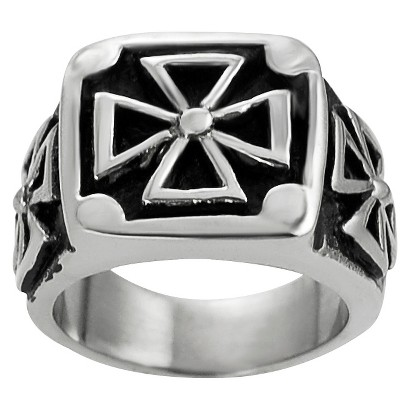 Daxx Men's Stainless Steel Pattee Cross Ring - Silver