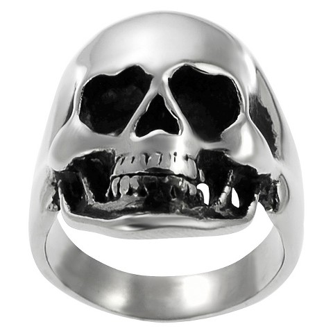 Men's Daxx Stainless Steel Large Skull Ring - Silver