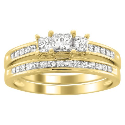 1.0 CT.T.W. Bridal Set 3 Stone Ring in 14K Yellow Gold - In Assorted Sizes