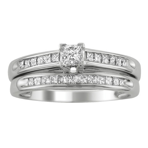 0.5 CT.T.W. Diamond Bridal Set Ring in 14K White Gold - In Assorted Sizes