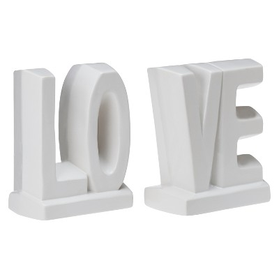 LOVE Ceramic Bookend Set