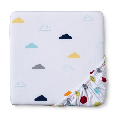 Duo-Print Fitted Crib Sheet - Bright Clouds & Dots - Circo™