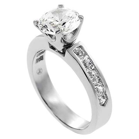 Tressa Collection Round Cut Cubic Zirconia Channel Set Engagement Ring in Sterling Silver