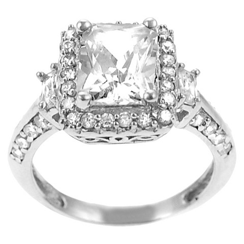 Tressa Collection Emerald Cut Cubic Zirconia Engagement Ring in Sterling Silver