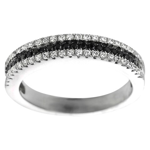 Tressa Collection Silver Two-tone Cubic Zirconia Eternity Bridal Ring - Silver/Black