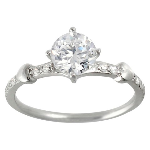 Tressa Collection Sterling Silver Round Cut Bridal Cubic Zirconia Ring - Silver