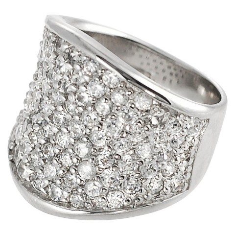 Tressa Collection Sterling Silver Cubic Zirconia Concave Pave Ring - Silver