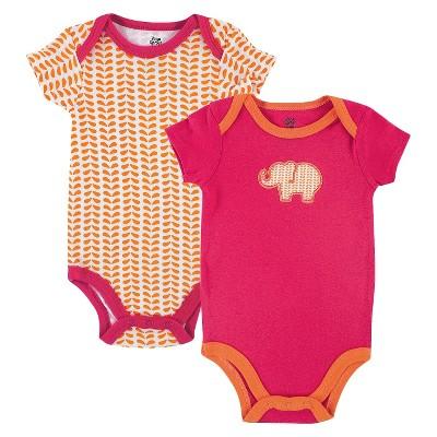 Yoga Sprout™ Newborn Girls' 2 Pack Bodysuit Set - Pink/Orange 0-3 M