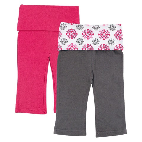 Yoga Sprout™ Newborn Girls' 2 Pack Yoga Pants - Grey/Pink