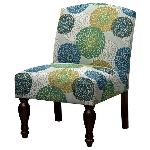 Foster Armless Chair – Blue/Green/Yellow Floral