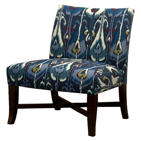Owen X Base Slipper Chair – Blue Ikat Tar