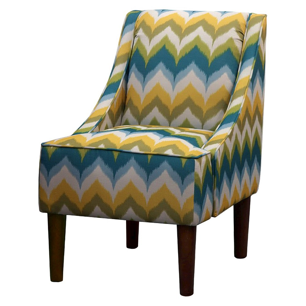 Skyline Upholstered Chair: Mid Century Modern Swoop Chair - Zig Zag, Zigzag Green