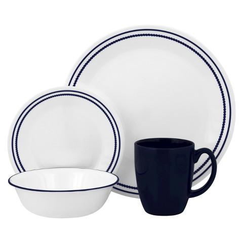 Corelle Livingware Blue Beads Dinnerware Set 16pc
