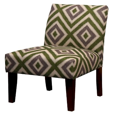 Avington Upholstered Slipper Chair Gray/Green Diamond Velvet - Threshold™