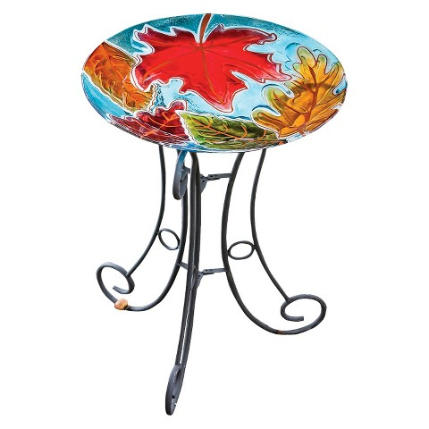 Falling Leaves Glass Birdbath with Stand