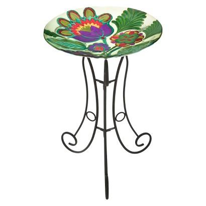 Somerset Garden Glass Birdbath Set