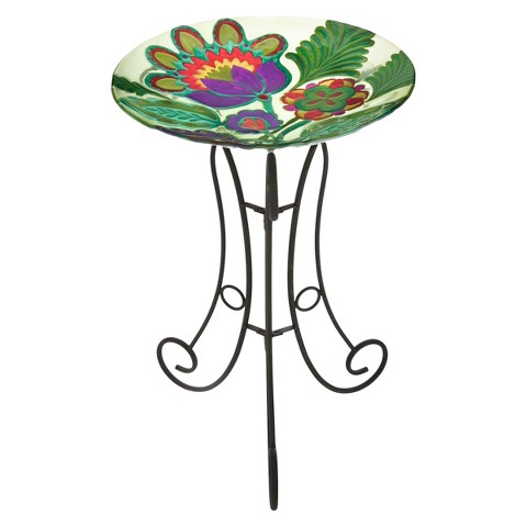 Somerset Garden Glass Birdbath Set
