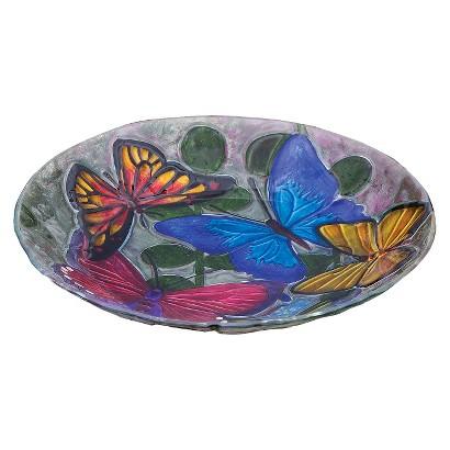 Butterfly Collage Glass Birdbath