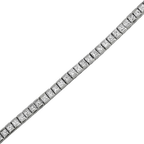 1.88 CT.T.W. Princess-Cut Diamond and Sapphire Tennis Bracelet in 14K White Gold