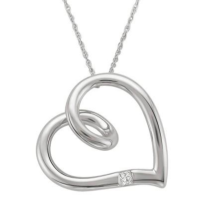 0.05 CT.T.W. Princess-cut Diamond Pendant Necklace in 10K White Gold