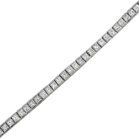 """4.0 CT.T.W. Princess-cut Diamond Tennis Bracelet in 14K White Gold (7"""")"""