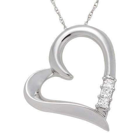 0.1 CT.T.W. Princess-cut Diamond Heart Pendant Necklace in 14K White Gold