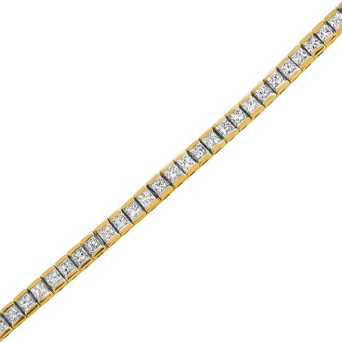 "3.25 CT.T.W. Princes-Cut Diamond Tennis Bracelet in 14K Yellow Gold (7"")"