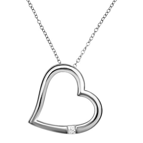 0.1 CT.T.W. Princess-cut Diamond Heart Pendant Necklace in Sterling Silver