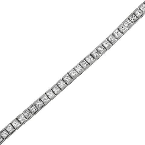 """3.25 CT.T.W. Princess Cut Diamond Tennis Bracelet in 14K White Gold (7"""")"""