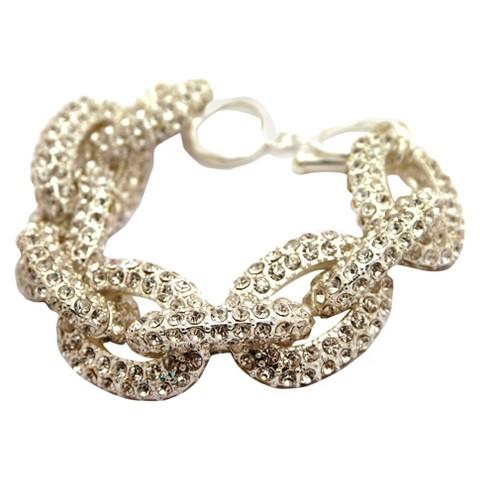 Women's Pave Statement Bracelet - Silver/Crystal