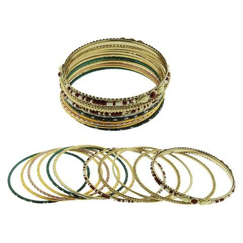 Women's Bangle Set of 11 - Gold/Silver/Brown