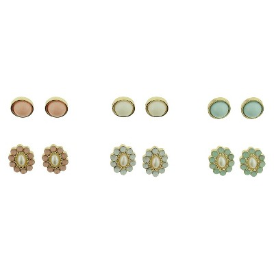 Women's Oval and Flower Stud Earrings Set of 6 - Gold/Multicolor