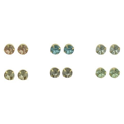 Women's Stone Stud Earrings Set of 6 - Gold/Crystal/Multicolor