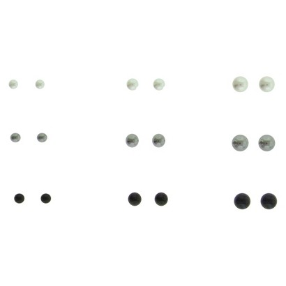 Women's Multi Sized Pearl Stud Earrings Set of 9 - Silver/White/Grey/Black