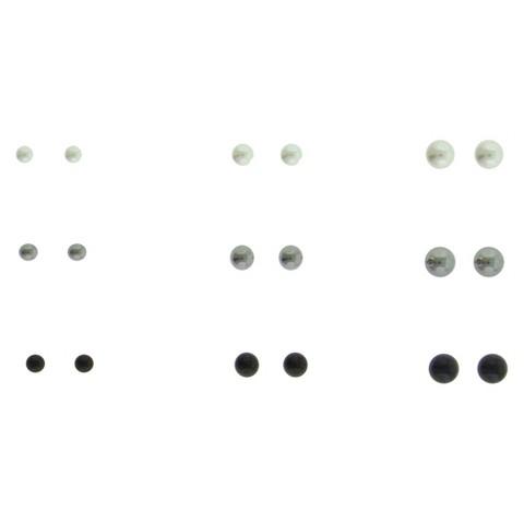 Women's Multi Sized Pearl Stud Earrings Set of 9 - Silver/White/Grey/Black