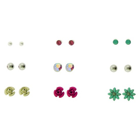 Women's Stone, Ball and Flower Stud Earrings Set of 9 - Silver/Pink/Turquoise/Ivory