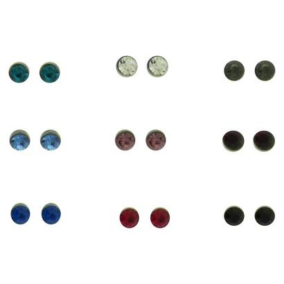 Women's Stone Stud Earrings Set of 9 - Silver/Crystal/Multicolor