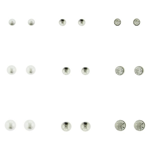 Women's Stone and Ball Stud Earrings Set of 9 - Silver/Crystal/Ivory