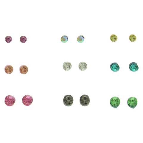 Women's Multi Sized Stone Stud Earrings Set of 9 - Silver/Multicolor