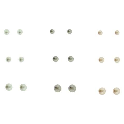 Women's Multi Sized Pearl Stud Earrings Set of 9 - Silver/Ivory/Pink/Grey