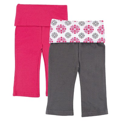 Yoga Sprout™ Newborn Girls' 2 Pack Yoga Pants - Grey/Pink 0-3 M