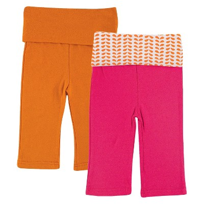 Yoga Sprout™ Newborn Girls' 2 Pack Yoga Pants - Pink/Orange 0-3 M